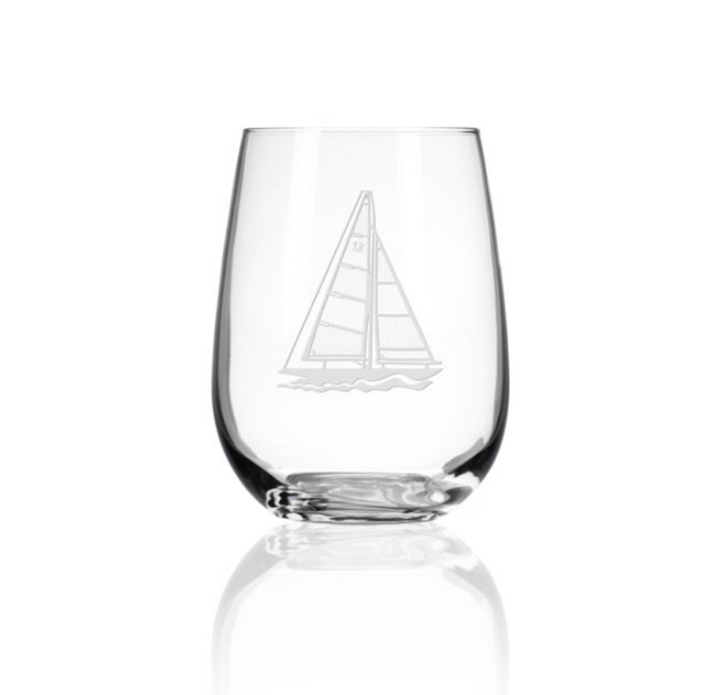 Sailboat Stemless Wine Glass Set of 4 | Rolf Glass | 222332
