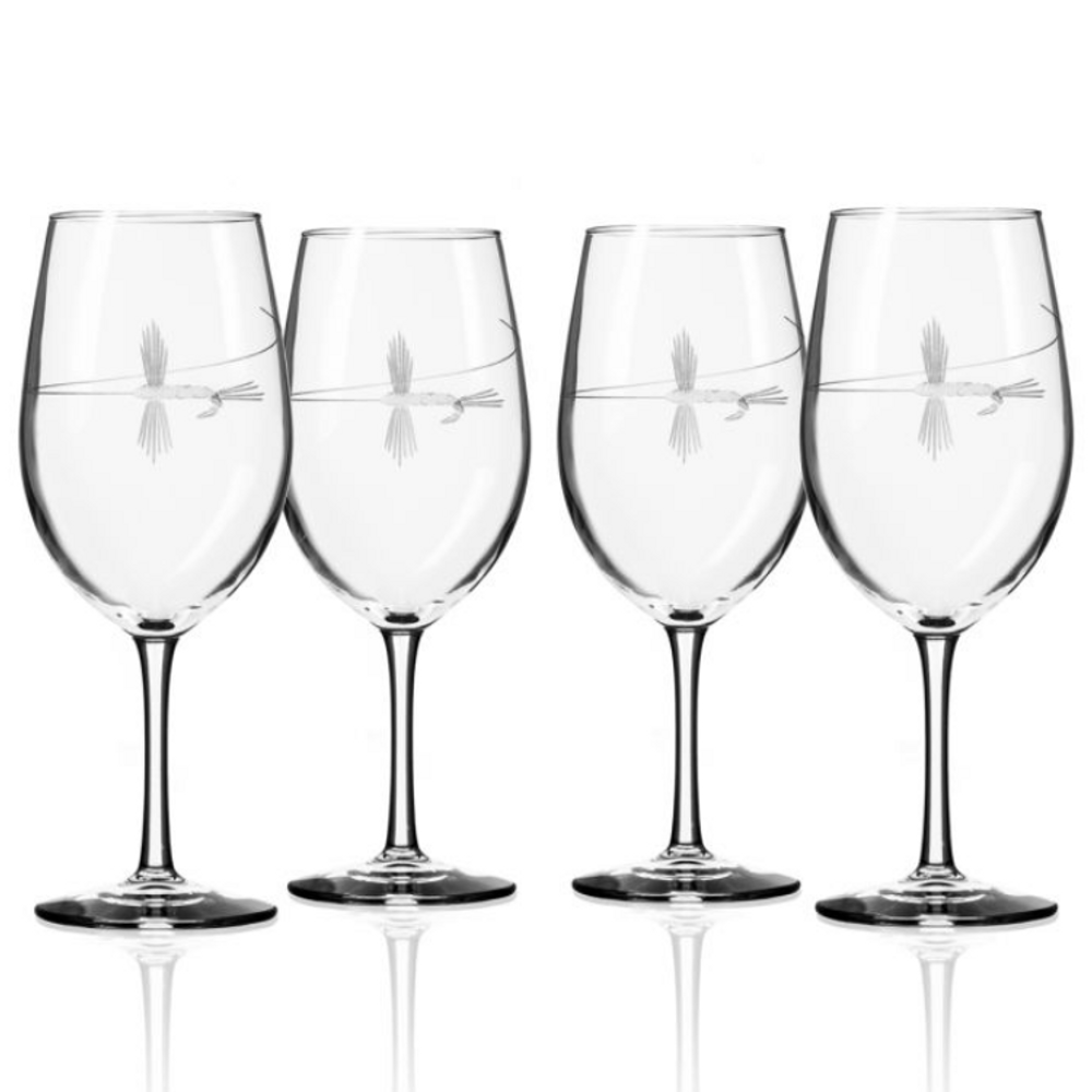 Fly Fishing AP Large Wine Glass Set of 4 | Rolf Glass | 410265