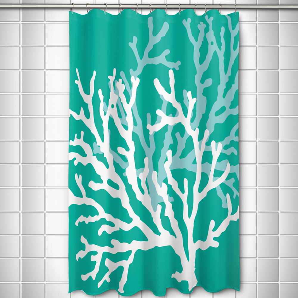 Coral Shower Curtain Aqua | Island Girl Home | SC220