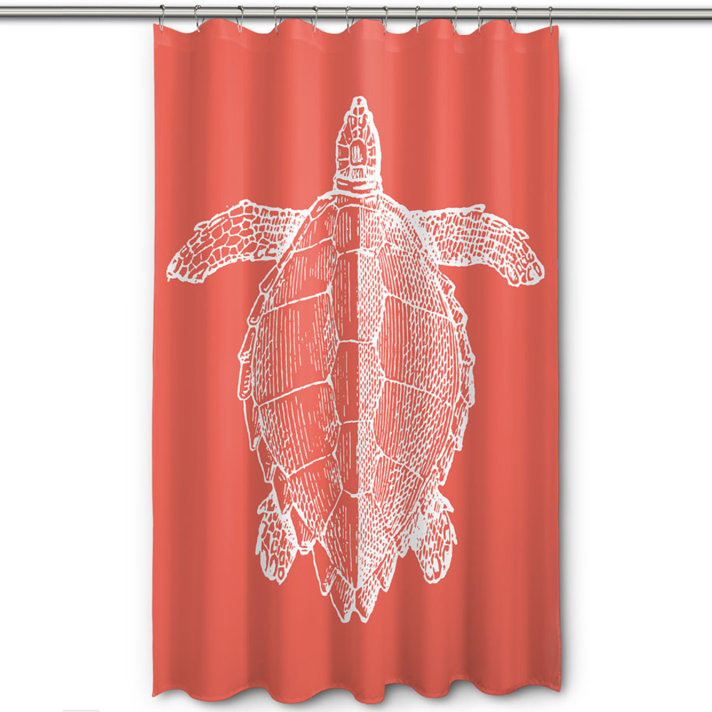 Sea Turtle Shower Curtain Vintage Coral | Island Girl Home | SC164