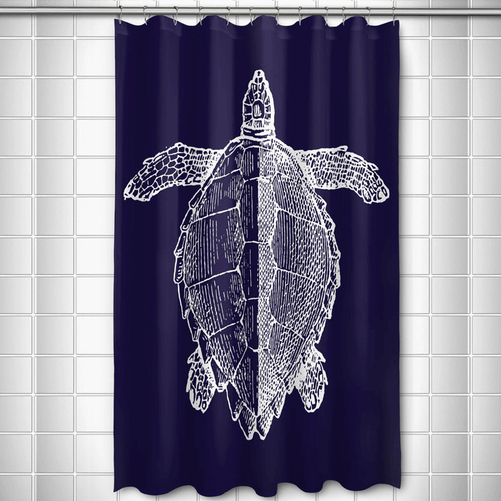 Sea Turtle Shower Curtain Vintage Navy | Island Girl Home | SC165