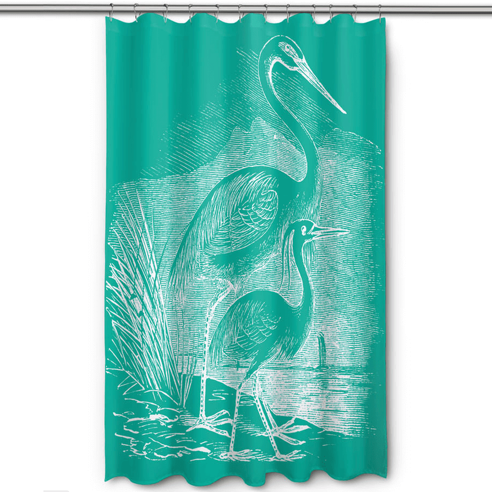 Egret Shower Curtain Vintage Aqua | Island Girl Home | SC176 -2