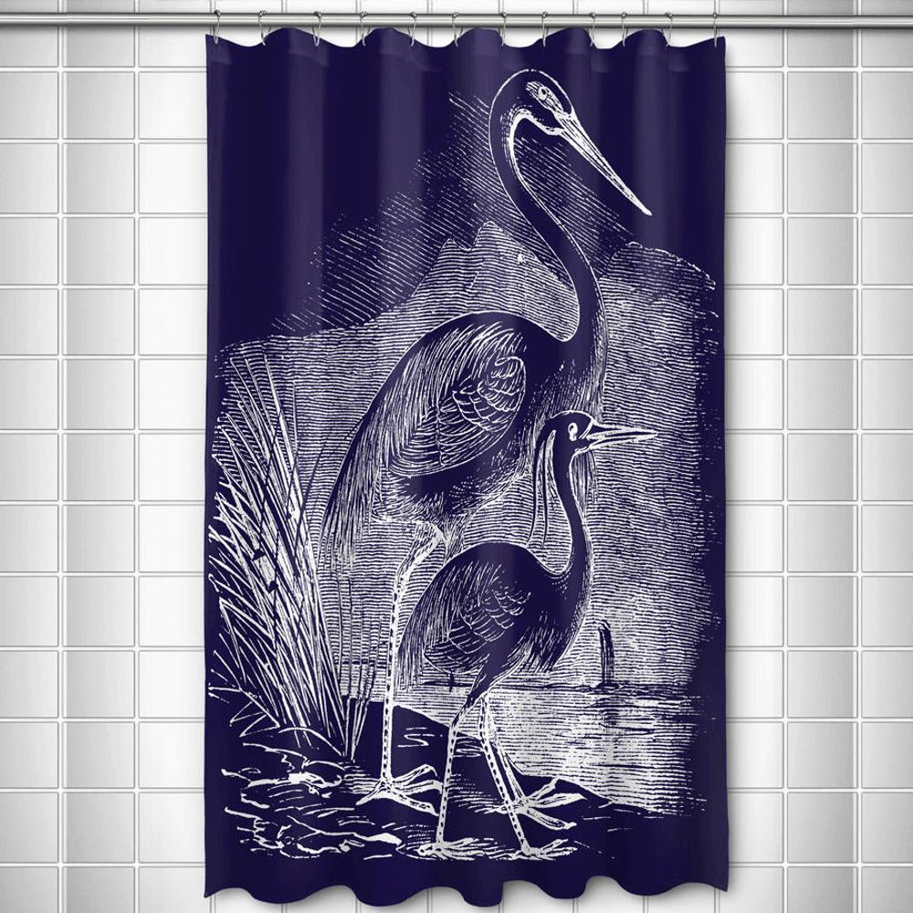 Egret Shower Curtain Vintag Navy| Island Girl Home | SC178