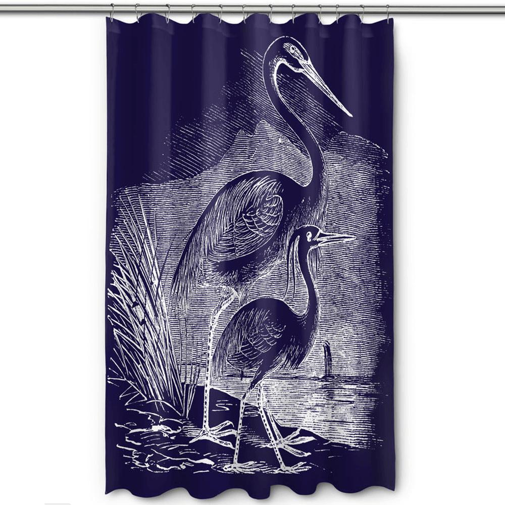 Egret Shower Curtain Vintage Navy | Island Girl Home | SC178 -2