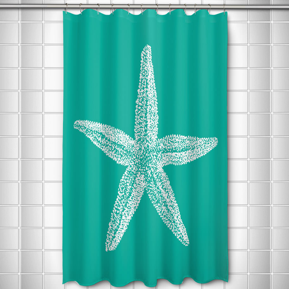 Starfish Shower Curtain Vintage Aqua