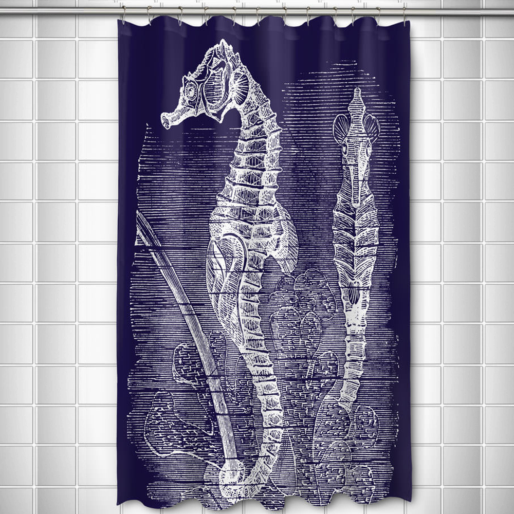 Vintage Navy Seahorse Shower Curtain