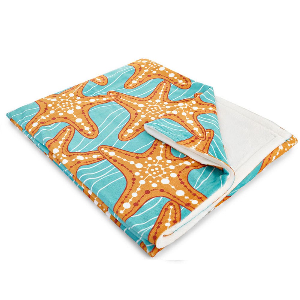 Starfish in Waves Fleece Throw Blanket | Island Girl Home | THR04