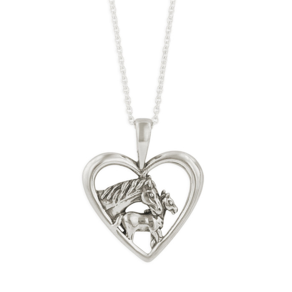 Horse Mare and Foal Sterling Silver Pendant Necklace | Kabana | SP213