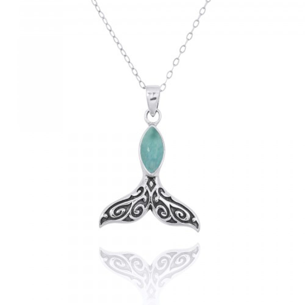 Whale Tail Sterling Silver Larimar Pendant Necklace | Beyond Silver Jewelry | NP11319-LAR -2