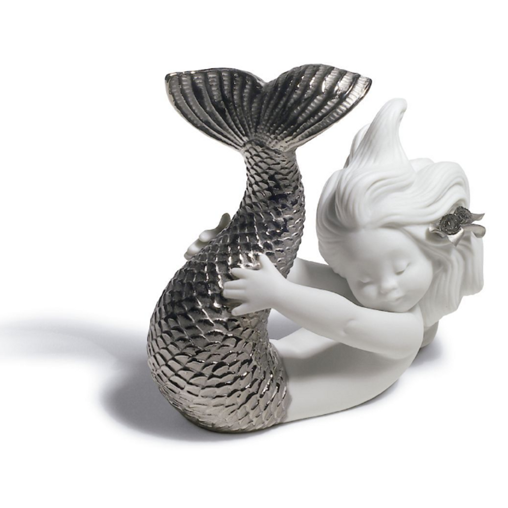 Playing at Sea Mermaid Porcelain Figurine with Silver Lustre | Lladro | 01008545