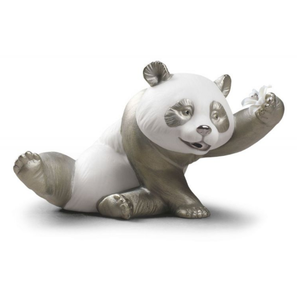 Jolly Panda Bear Porcelain Figurine with Silver Lustre | Lladro | 01009091