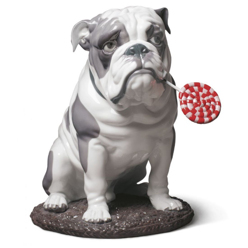 Bulldog with Lollipop Porcelain Dog Figurine   Lladro   01009234
