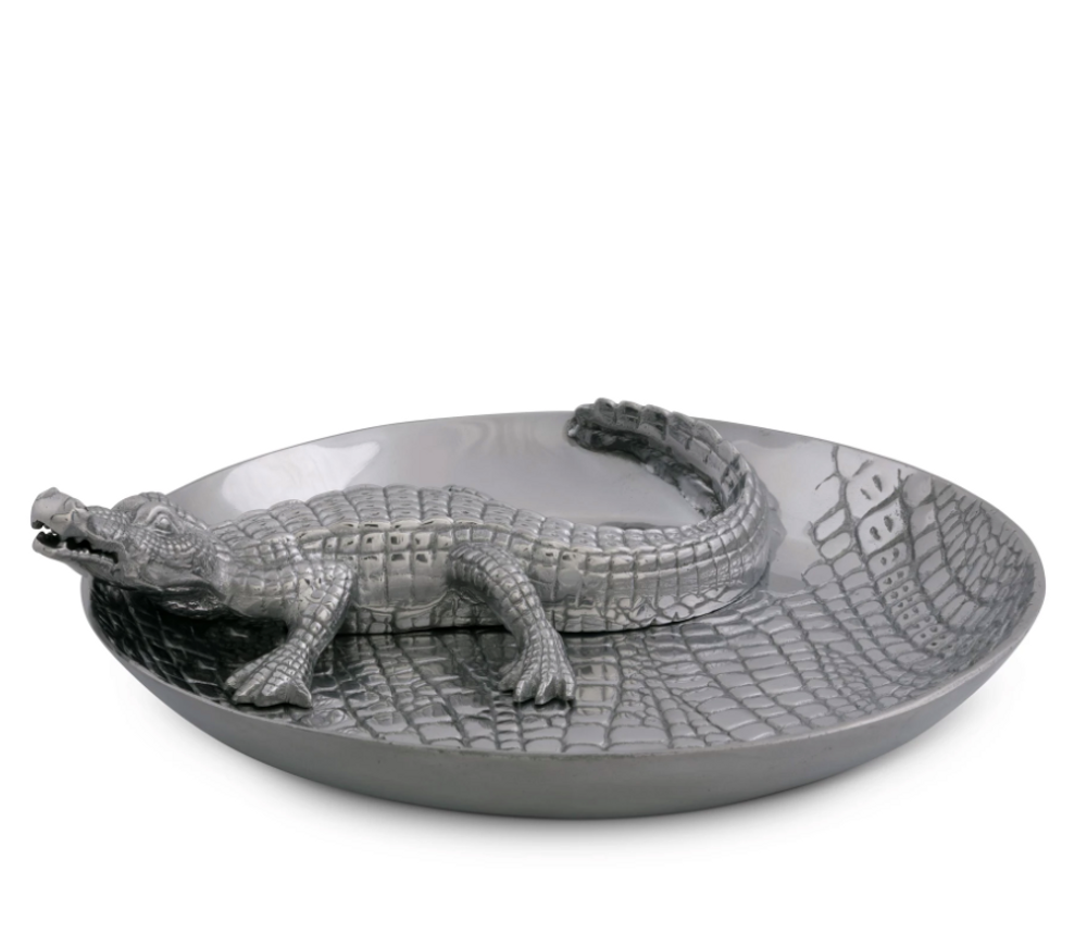 Alligator Chip and Dip Tray   Arthur Court Designs   103342