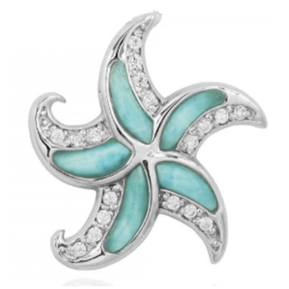 Starfish Sterling Silver Larimar Pendant Necklace | Beyond Silver Jewelry | NP10924-LAR