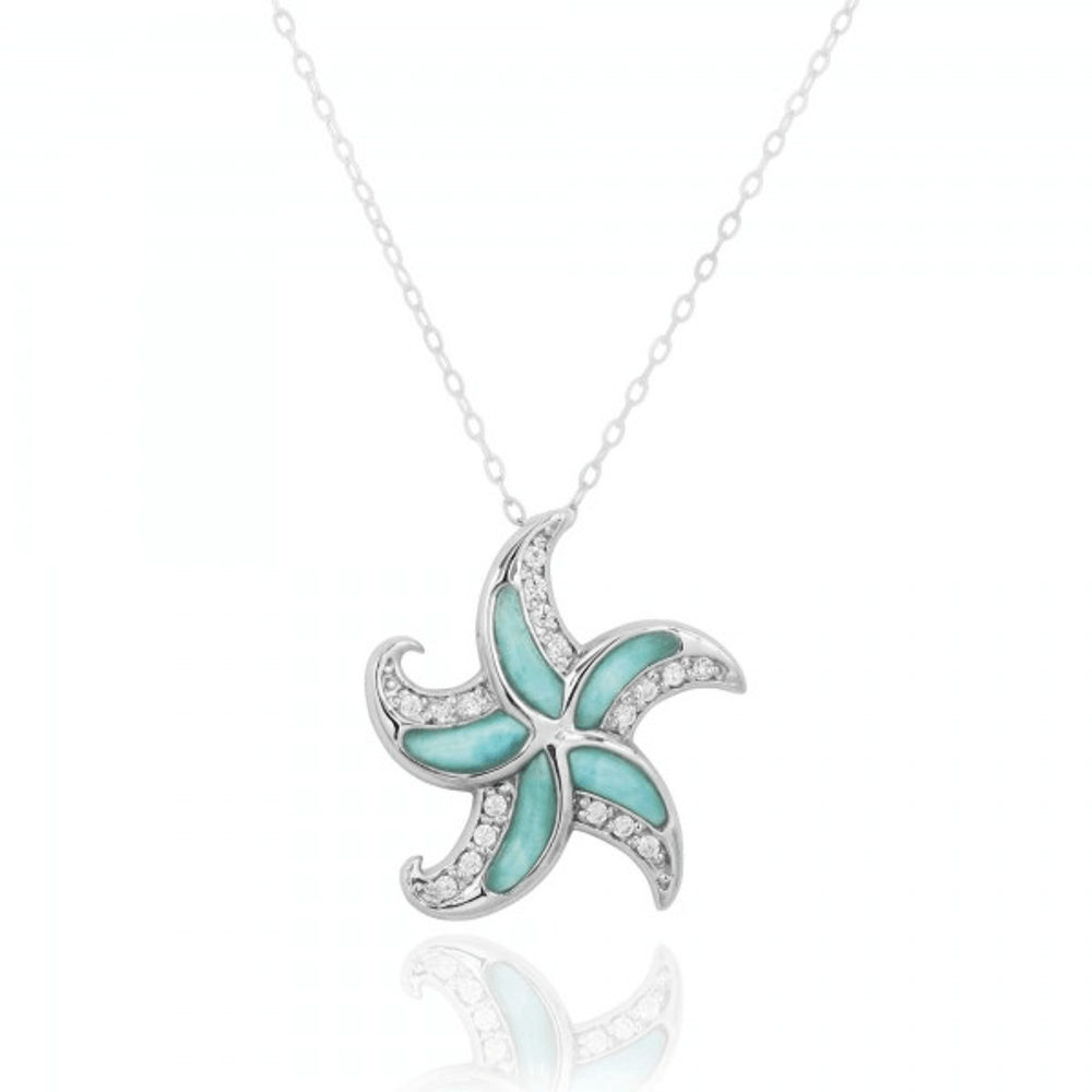 Starfish Sterling Silver Larimar Pendant Necklace | Beyond Silver Jewelry | NP10924-LAR -2