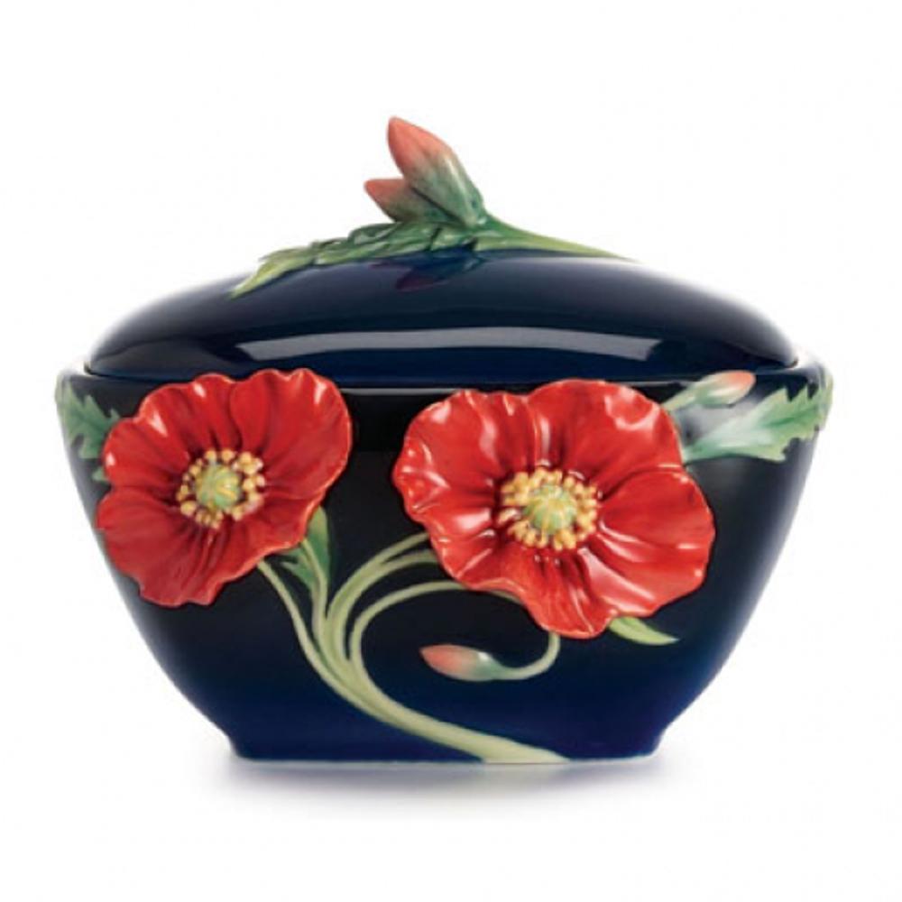 Serenity Poppy Porcelain Sugar Jar | FZ02477 | Franz Collection