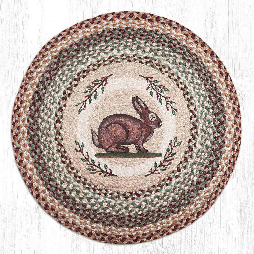 Rabbit Round Patch Braided Rug | Capitol Earth Rugs | CERRP-413