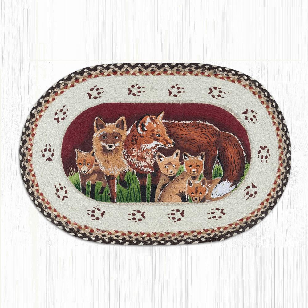 Fox Family Oval Braided Rug | Capitol Earth Rugs | OP-129FOX