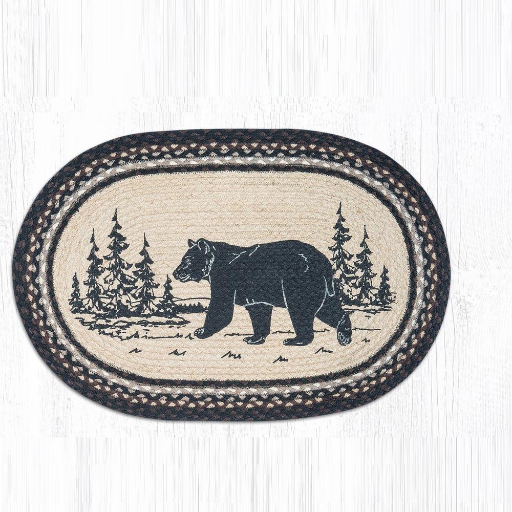 Bear Oval Braided Rug | Capitol Earth Rugs | OP-313BEARSILHO