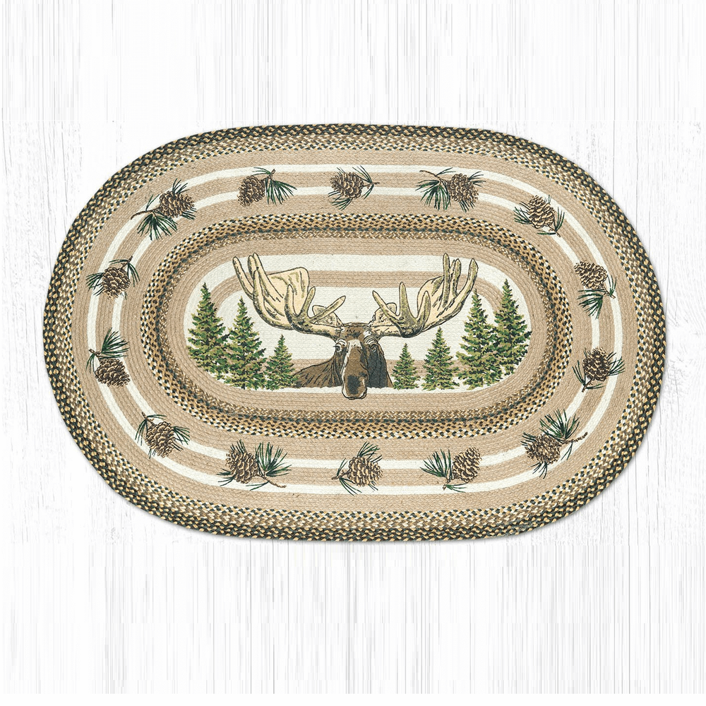 Bull Moose Oval Patch Braided Rug | Capitol Earth Rugs | OP-051BULLMOO