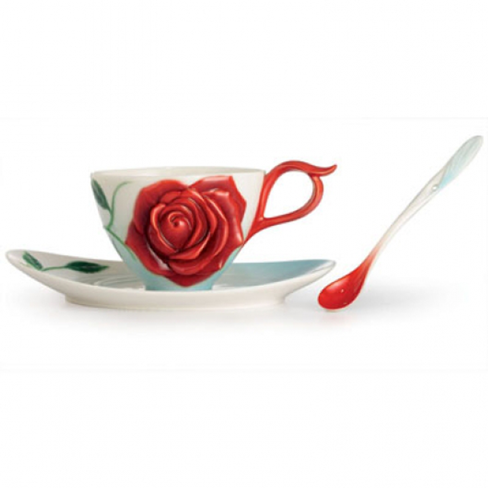 Romance of the Rose Porcelain Cup Saucer Spoon Set | FZ02644 | Franz Collection
