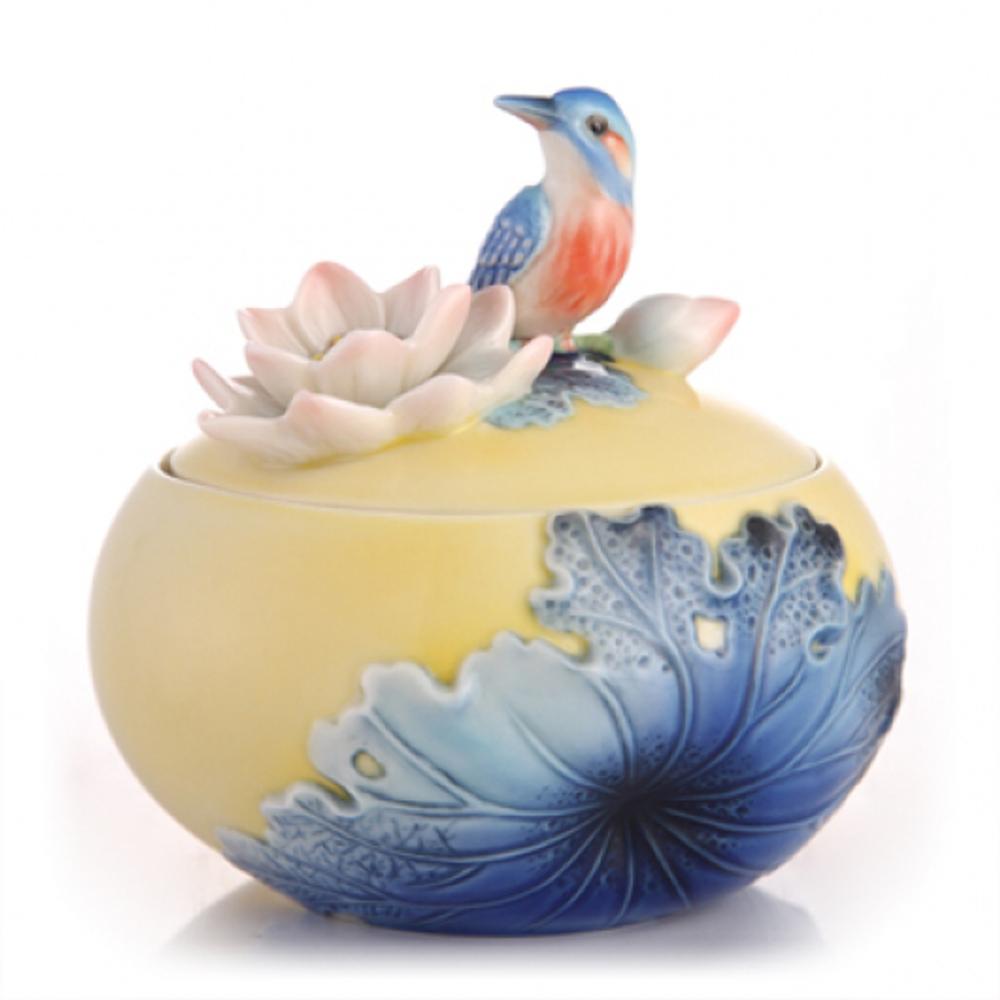 Leisure Kingfisher and Lotus Porcelain Sugar Jar | FZ03485 | Franz Collection