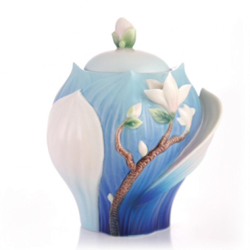 Elegant Blossom Waltz Yulan Magnolia Sugar Jar | FZ03488 | Franz Collection