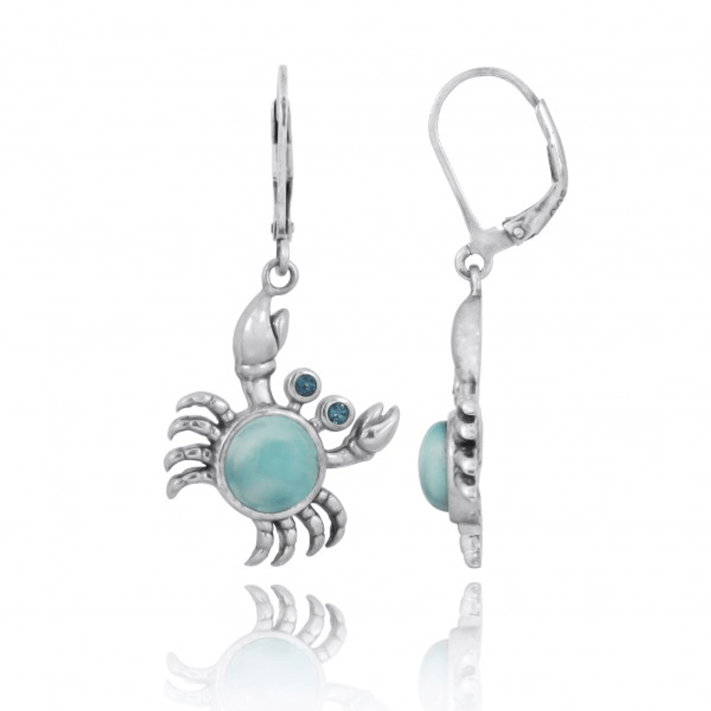 Crab Sterling Silver Larimar Pendant Earrings | Beyond Silver Jewelry | NEA2794-LAR -2