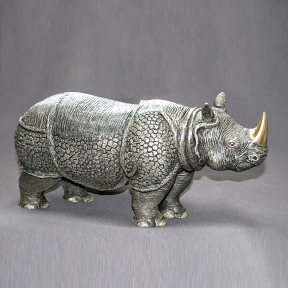 Indian Rhino Bronze Sculpture | Barry Stein | BBSRHI1-IND-2