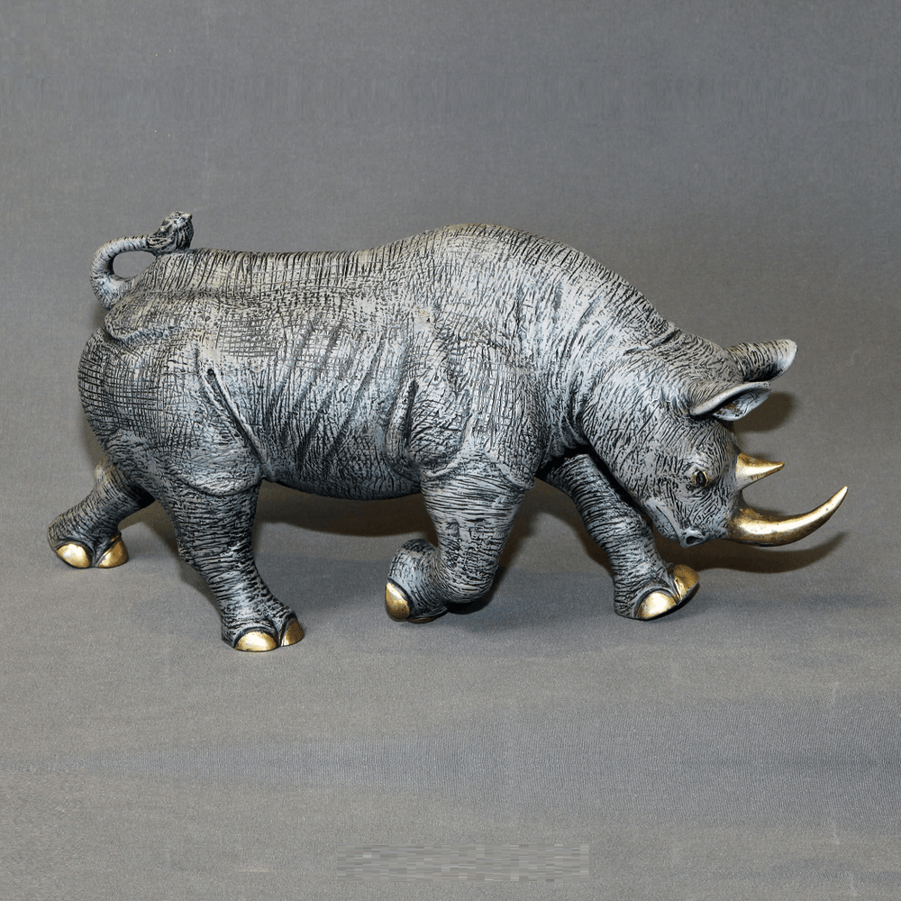 Rhino Bronze Sculpture Black | BBSRHI1-BLK-4