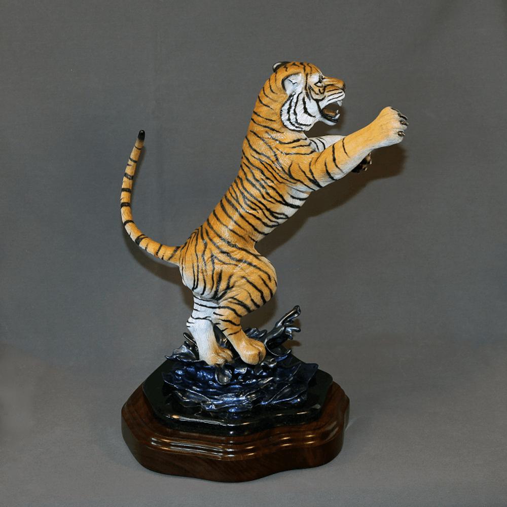 "Tiger Bronze Sculpture ""Defiant""   Barry Stein   BBSDEFIANT-3"
