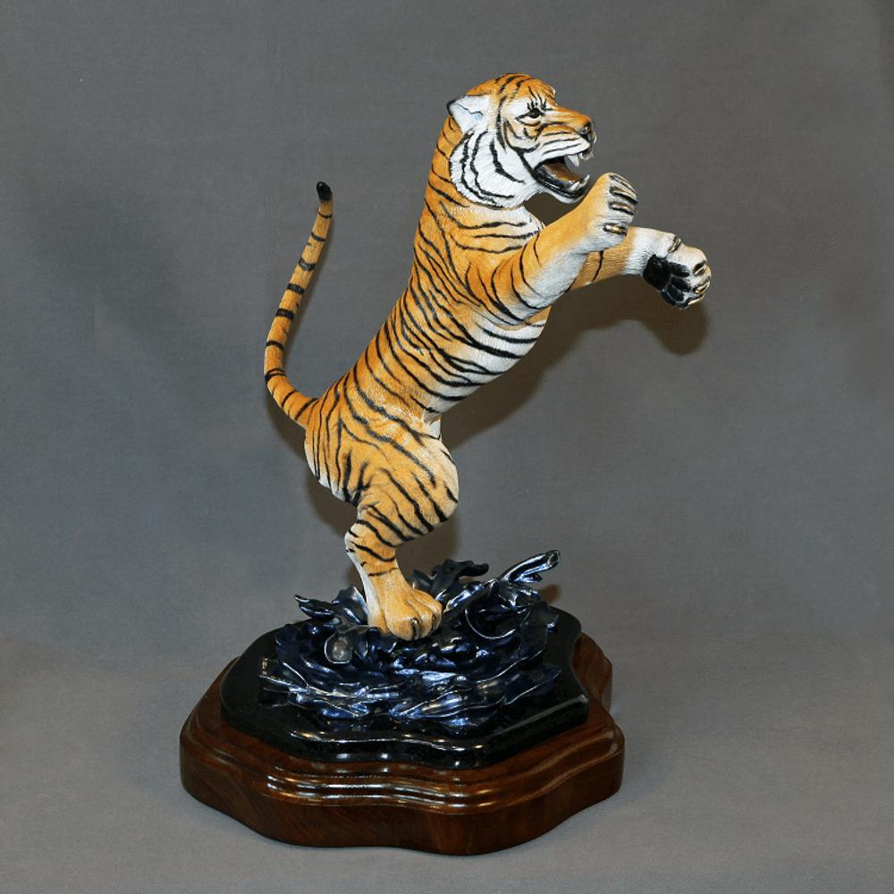 "Tiger Bronze Sculpture ""Defiant""   Barry Stein   BBSDEFIANT-4"
