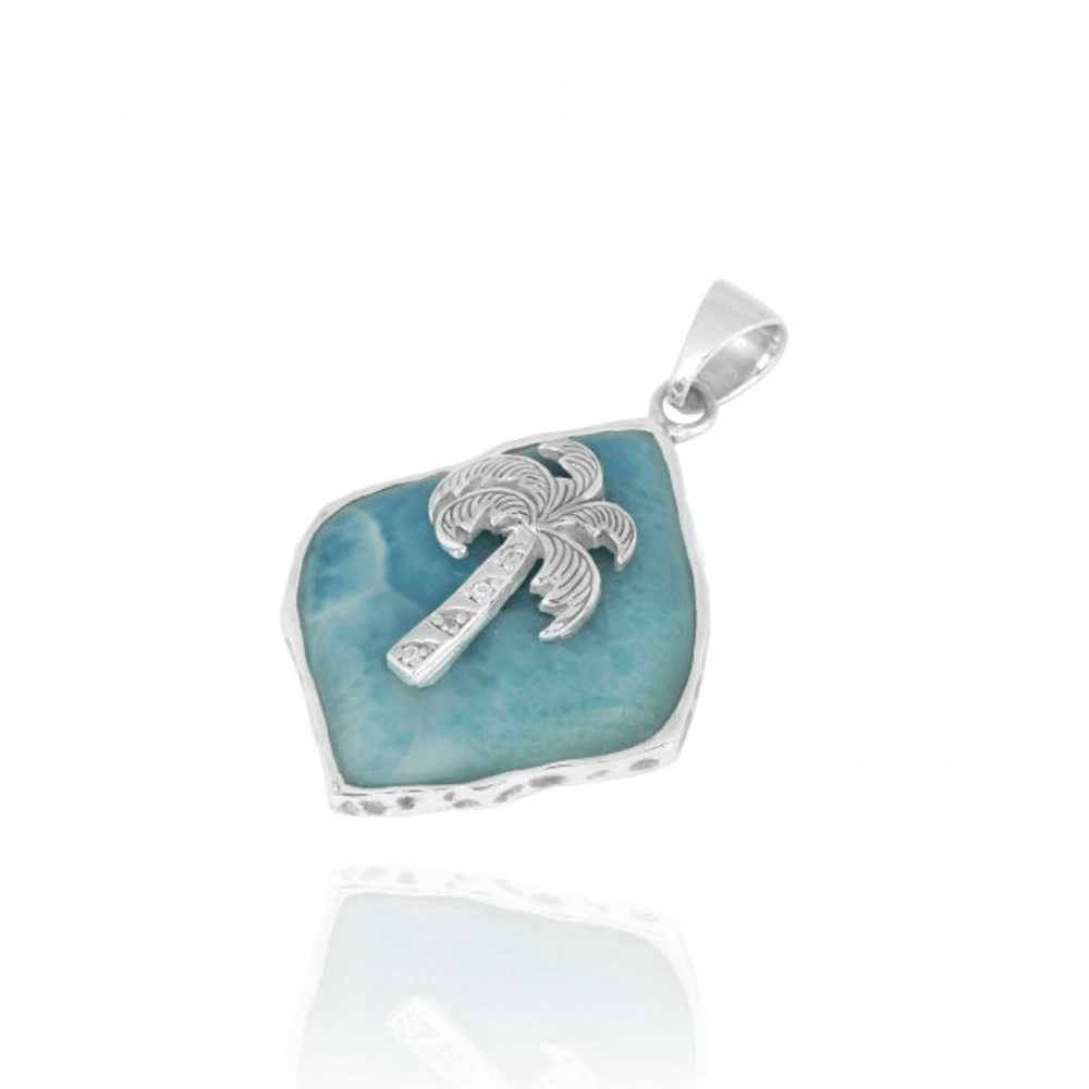 Palm Tree Sterling Silver Larimar Pendant Necklace | Beyond Silver Jewelry | NP11322-LAR