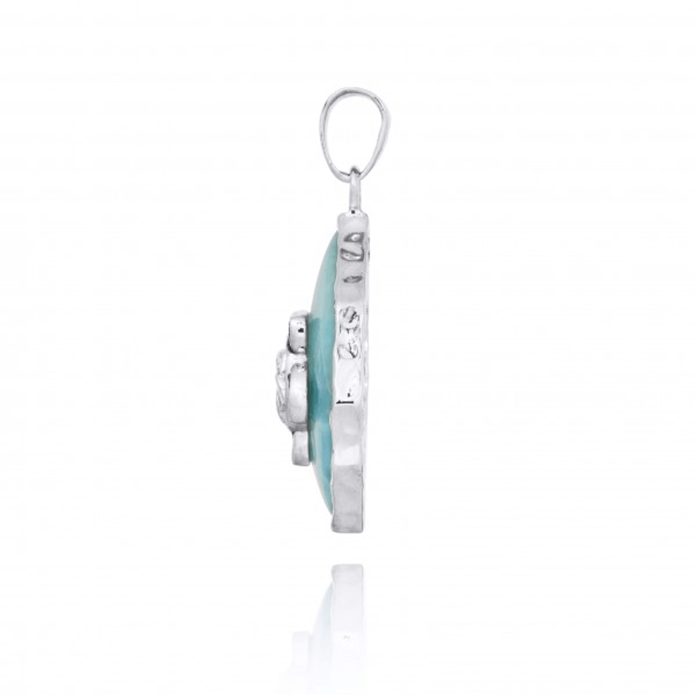 Turtle Sterling Silver on Larimar Pendant Necklace | Beyond Silver Jewelry | NP11323-LAR -3