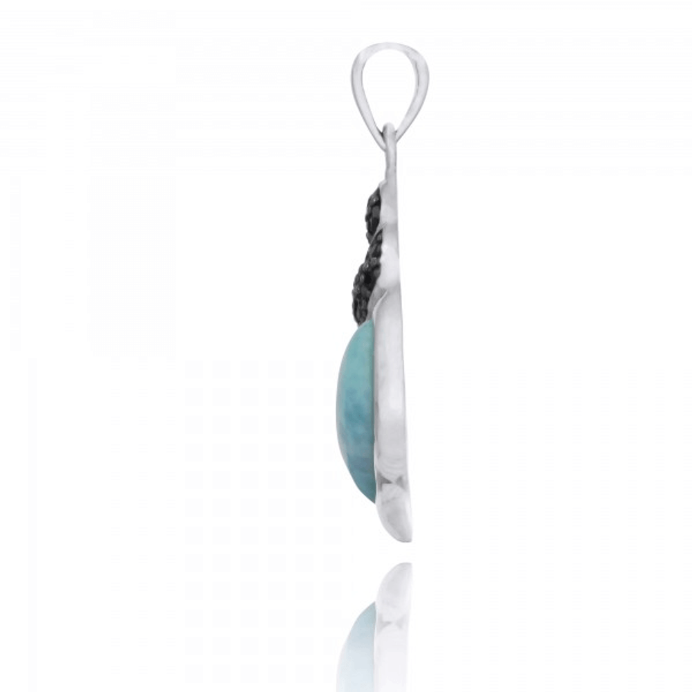 Seashell Shell Sterling Silver Larimar Pendant Necklace | Beyond Silver Jewelry | NP11311-LAR -3