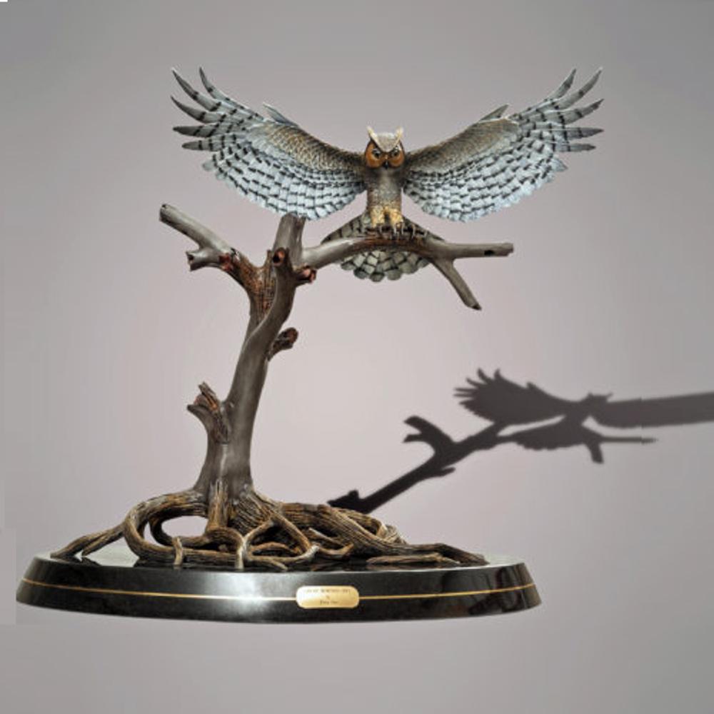 Great Horned Owl Bronze Sculpture  | Barry Stein | BBSHORNEDOWL