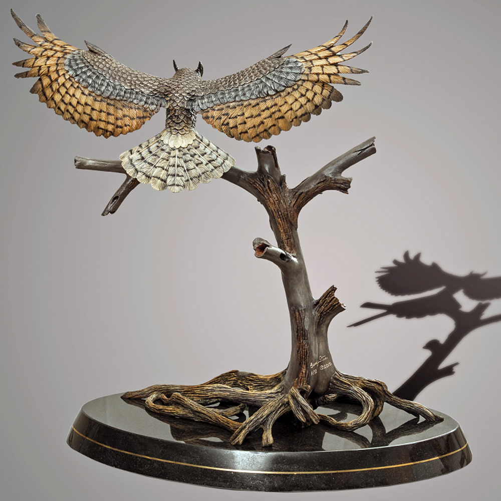 Great Horned Owl Bronze Sculpture  | Barry Stein | BBSHORNEDOWL-2