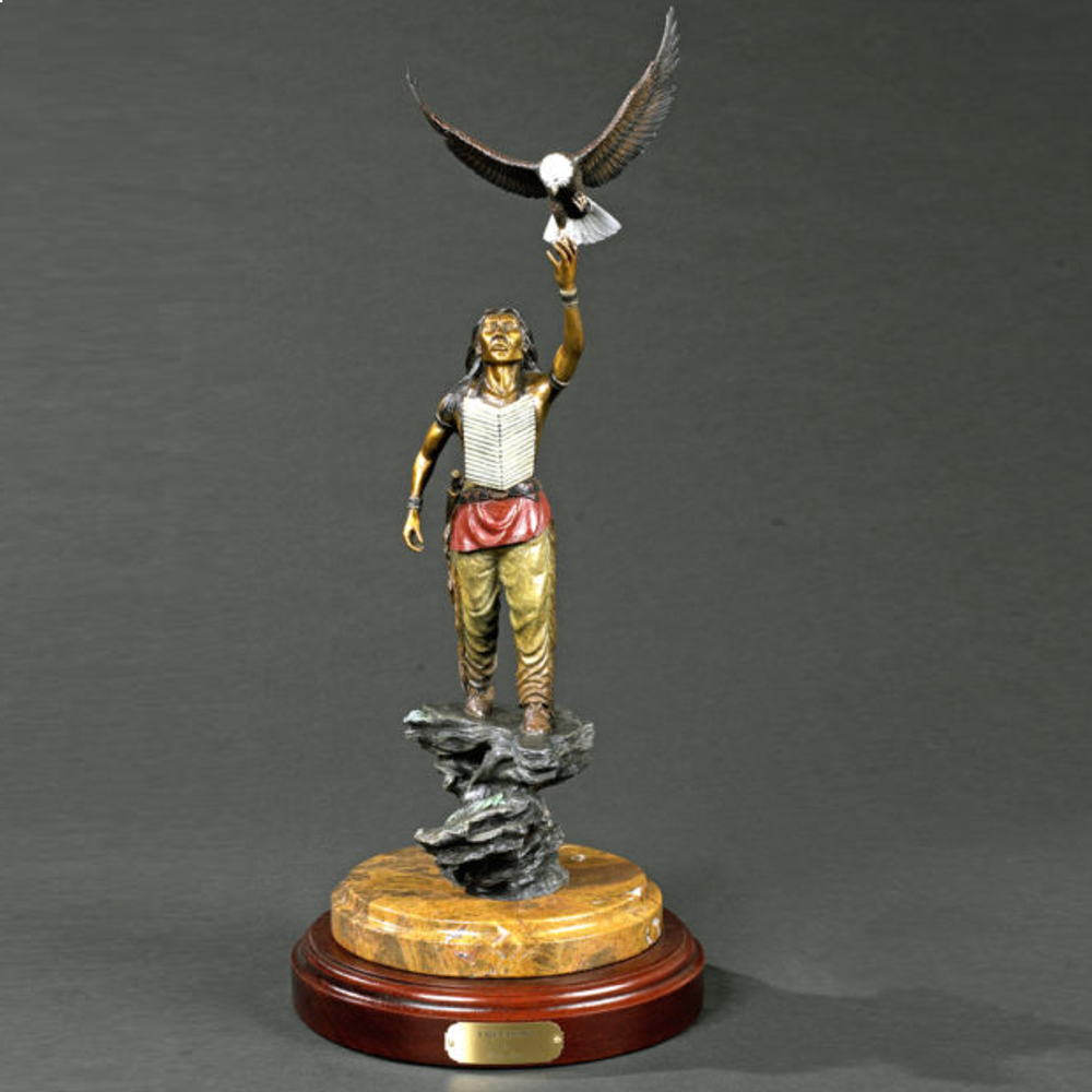 """Native American and Eagle Bronze Sculpture """"Freedom"""" 