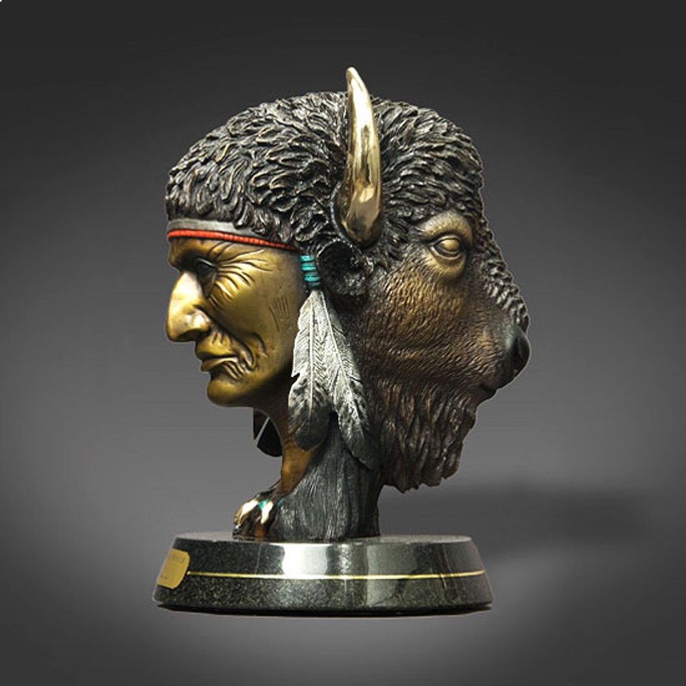 "Native American and Buffalo Bronze Sculpture ""Faces of Power"" 