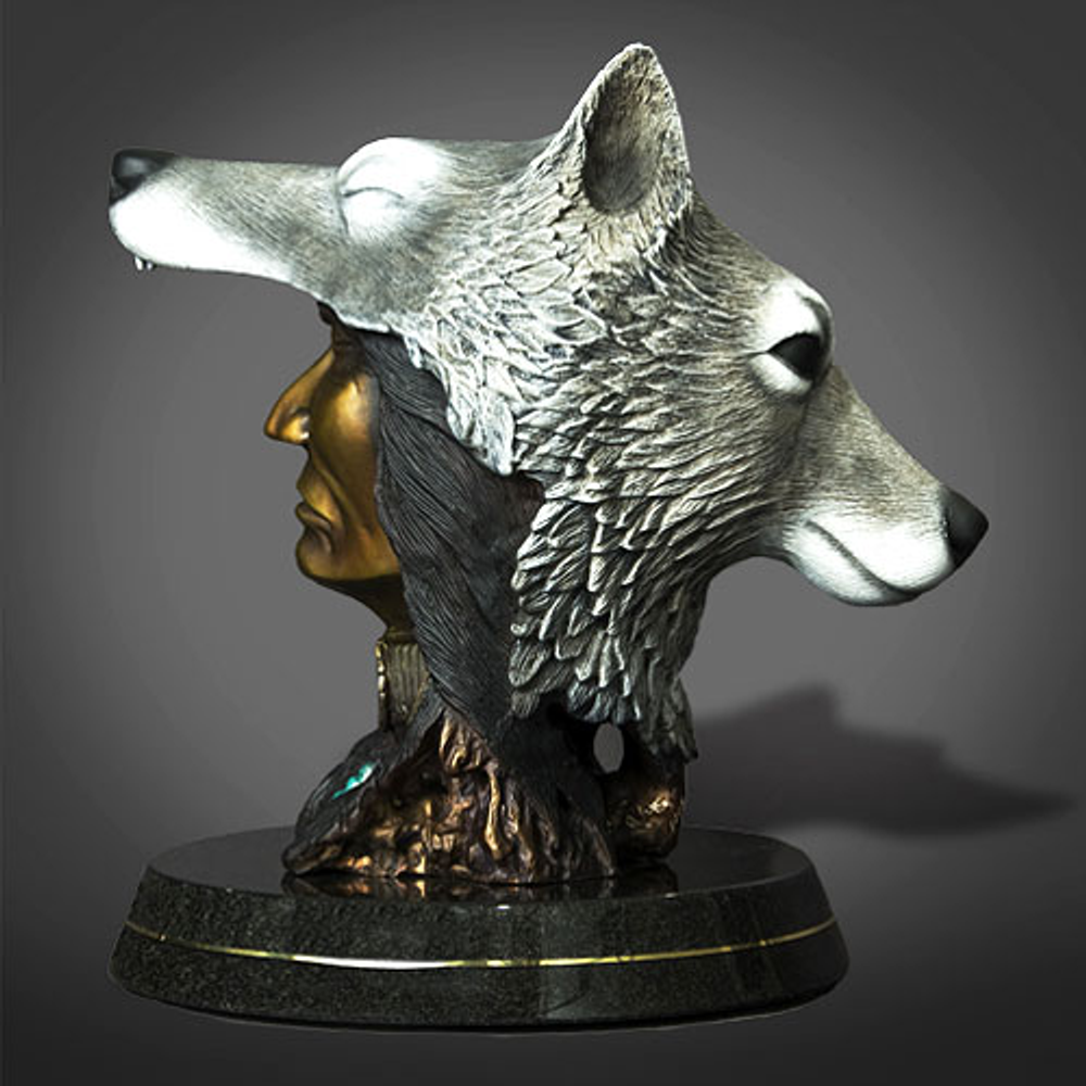 """Native America and Wolf Bronze Sculpture """"The Peacekeeper"""" 
