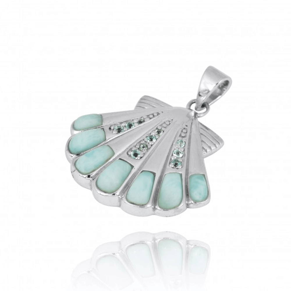Shell Sterling Silver Larimar Pendant Necklace | Beyond Silver Jewelry | NP11305-LAR