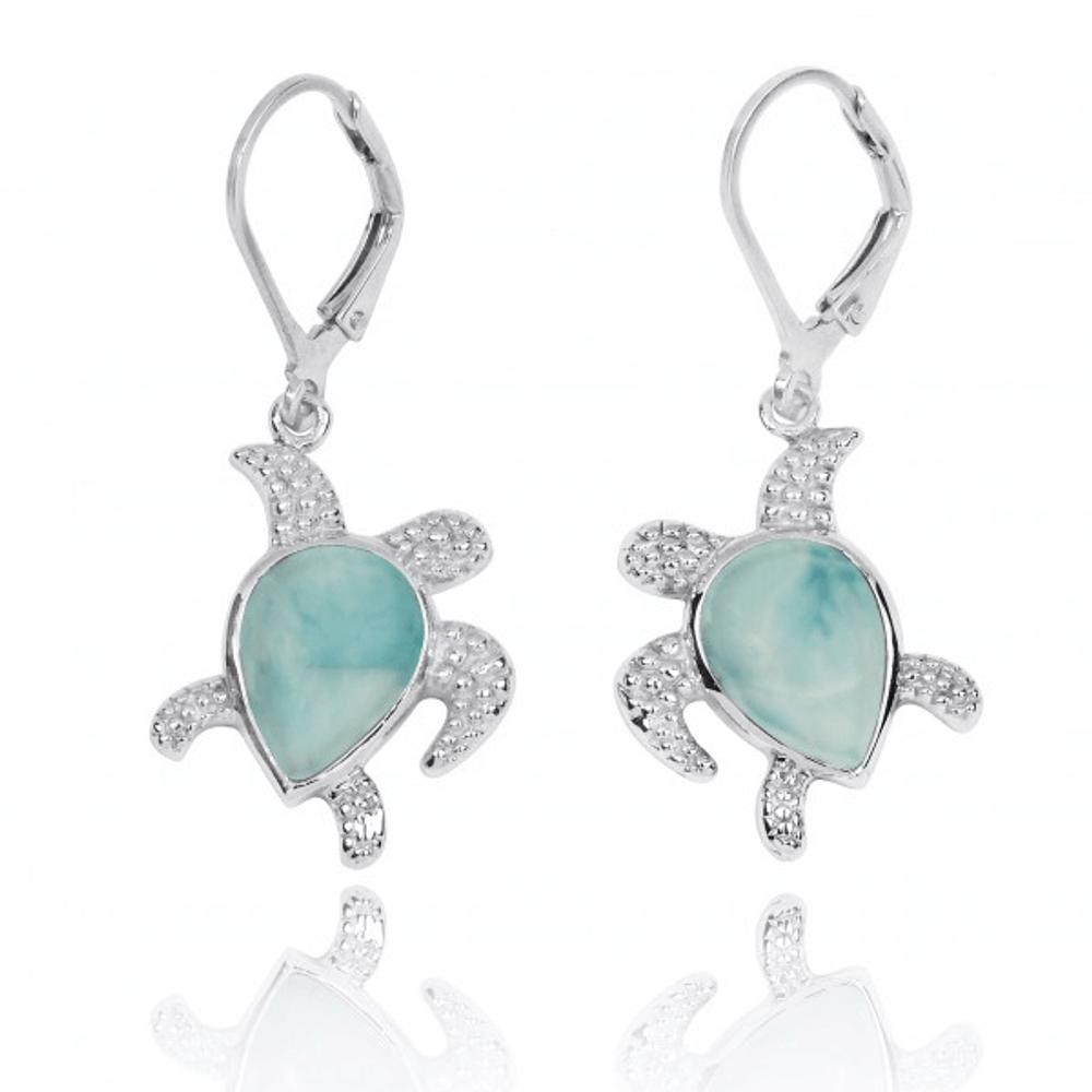 Turtle Sterling Silver Larimar Drop Earrings | Beyond Silver Jewelry | NEA3139-LAR
