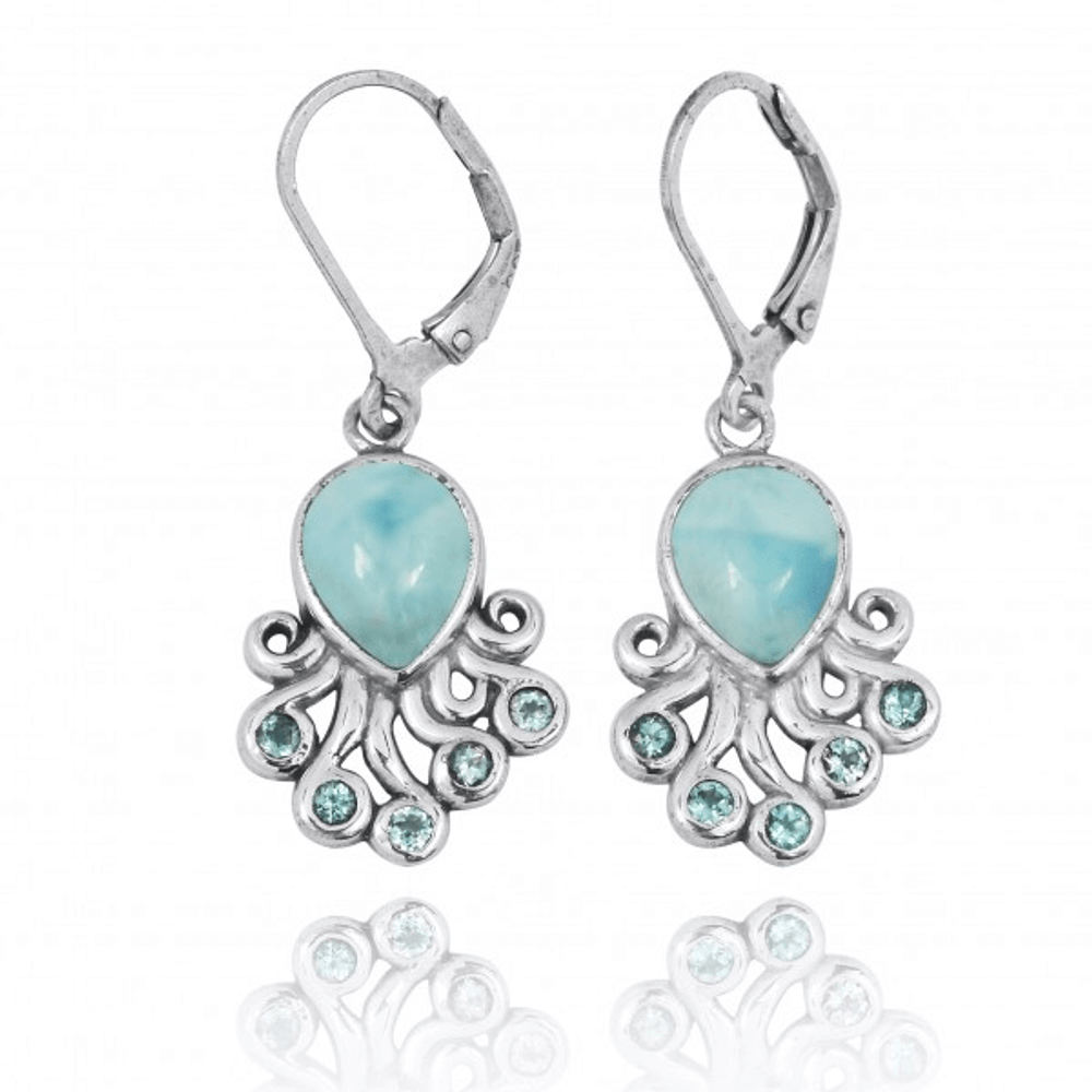 Octopus Sterling Silver Larimar Drop Earrings | Beyond Silver Jewelry | NEA2792-LAR