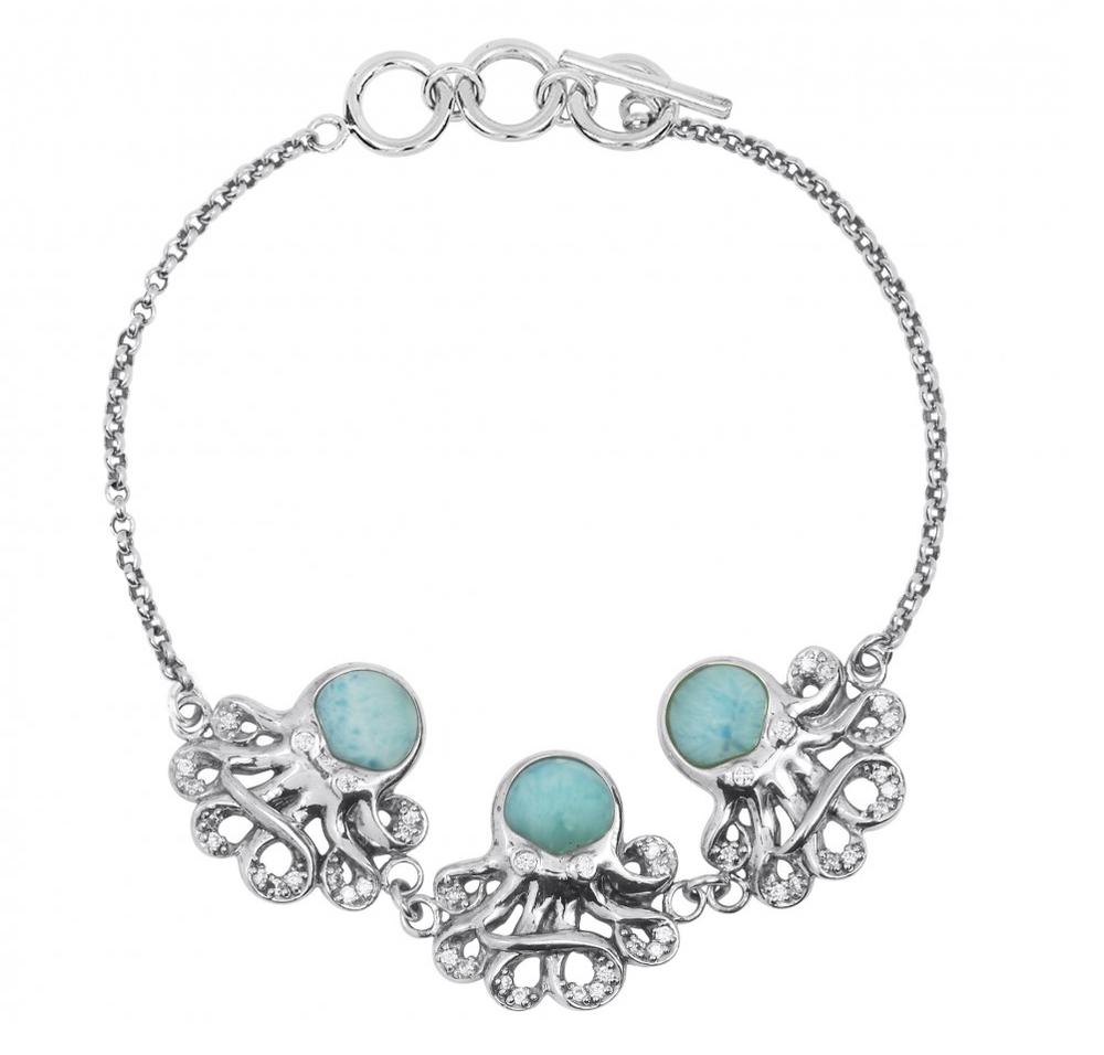 Octopus Sterling Silver Larimar Bracelet | Beyond Silver Jewelry | NB1437-LAR