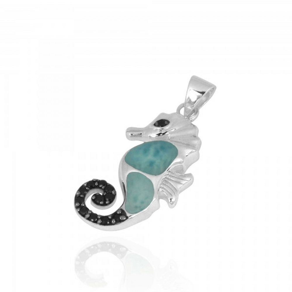 Seahorse Larimar and Black Spinel Pendant   Beyond Silver Jewelry   NP11309-LAR