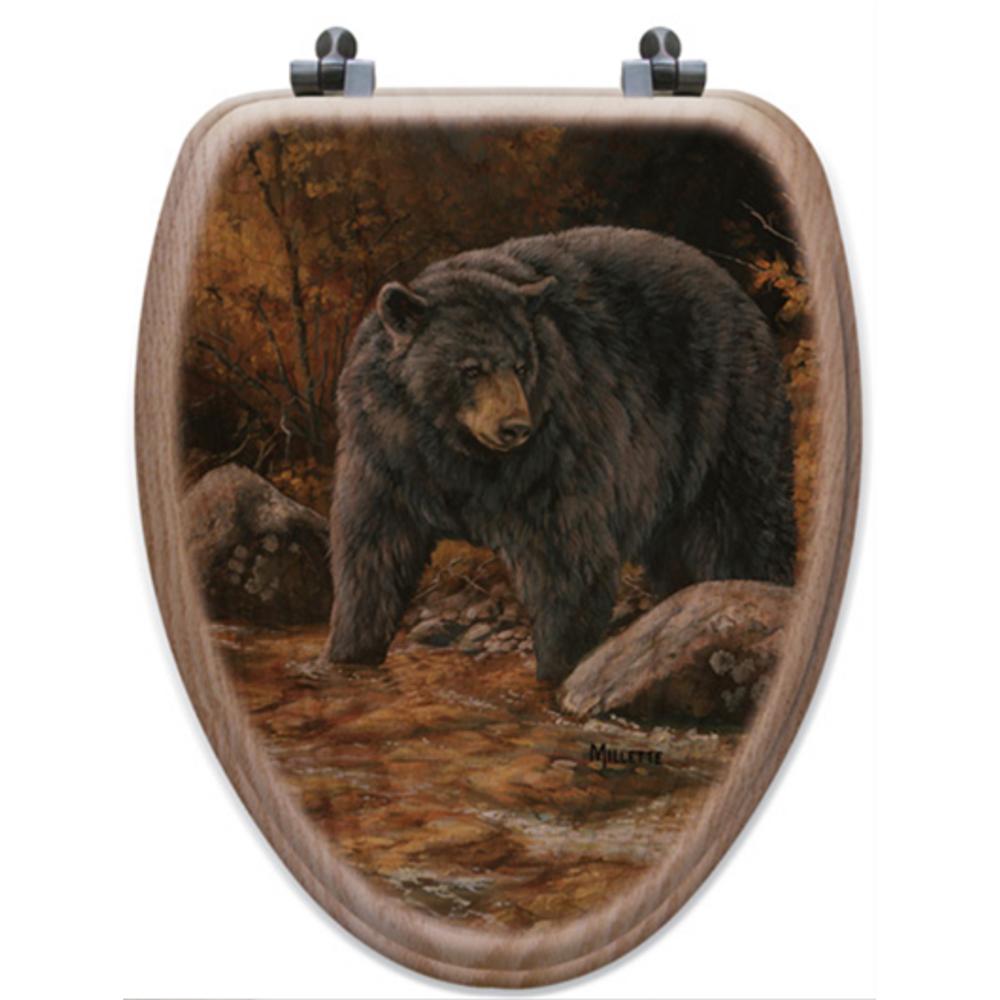 "Bear Oak Wood Elongated Toilet Seat ""Streamside"" | Wood Graphixs | WGISSB-E"