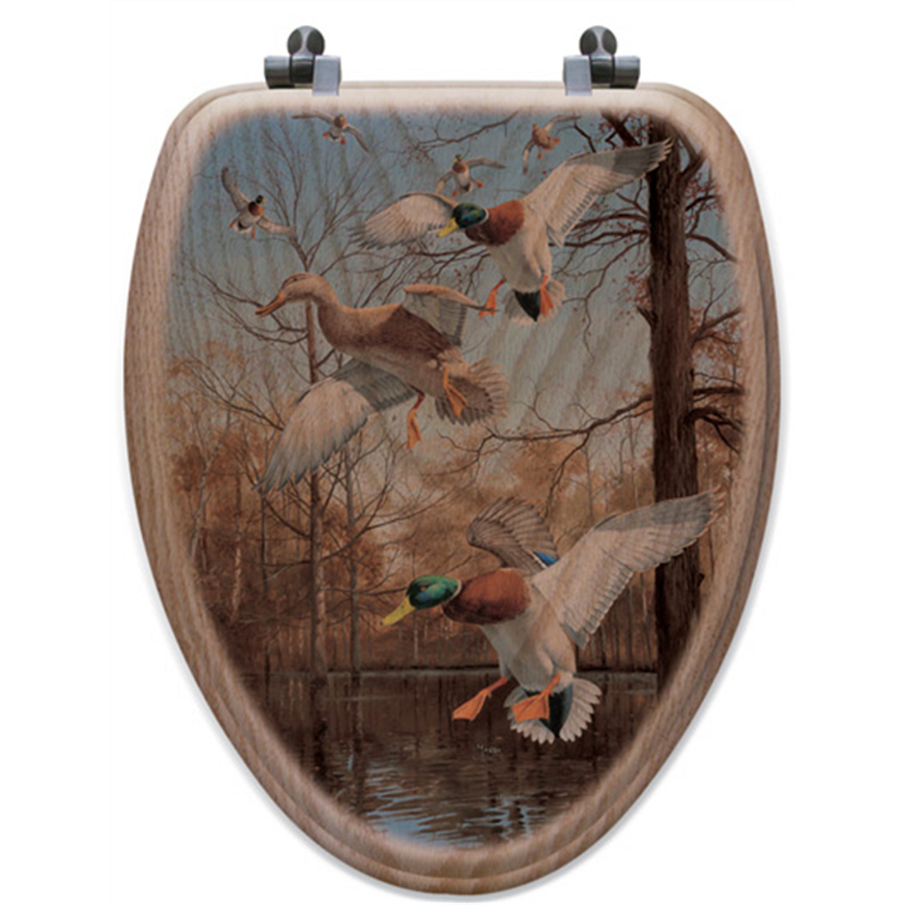 "Duck Oak Wood Elongated Toilet Seat ""Greenhead Haven""   Wood Graphixs   WGIGHH-E-OAK"