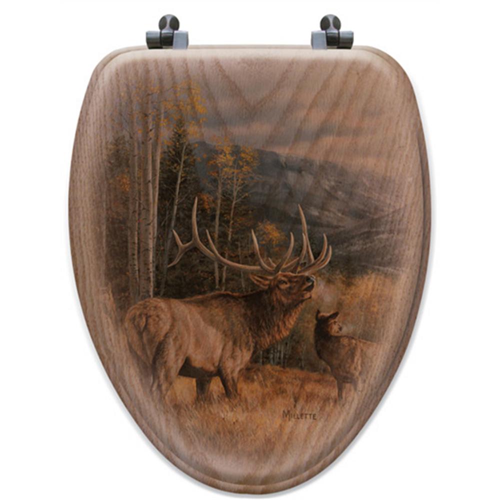 "Elk Oak Wood Elongated Toilet Seat ""Meadow Music"" | Wood Graphixs | WGIMME-E"