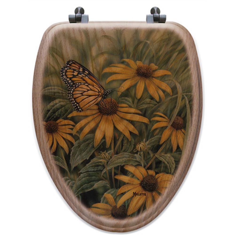 Monarch Butterfly Oak Wood Elongated Toilet Seat   Wood Graphixs   WGIMB-E-OAK