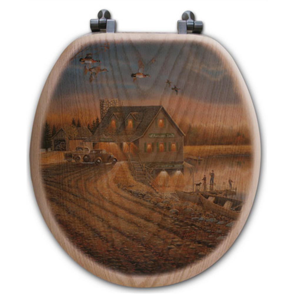 "Duck and Fishermen Oak Wood Round Toilet Seat ""Anglers Inn"" | Wood Graphixs | WGIDFAI-R"